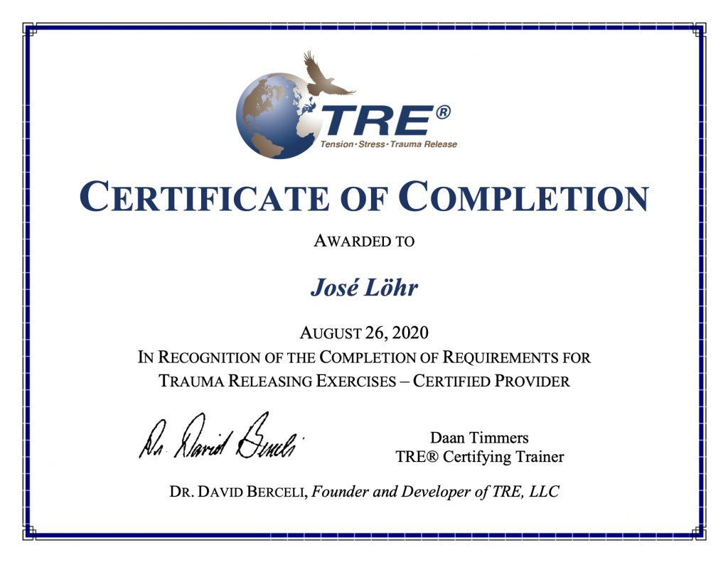 TRE certificate of completion, trauma releasing exercises, TRE provider, David Berceli en Daan Timmers